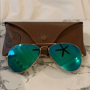 Ray Ban Flash Mirror Green Sunglasses